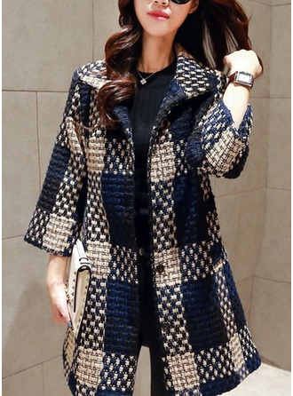 Cotton 3/4 Sleeves Color Block Wool Coats