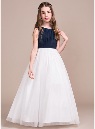 Scoop Neck Floor-Length Chiffon Tulle Junior Bridesmaid Dress