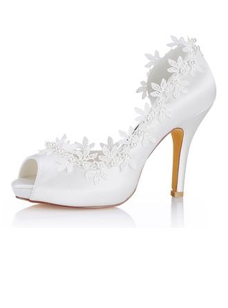 Women's Silk Like Satin Stiletto Heel Peep Toe Pumps Sandals With Stitching Lace