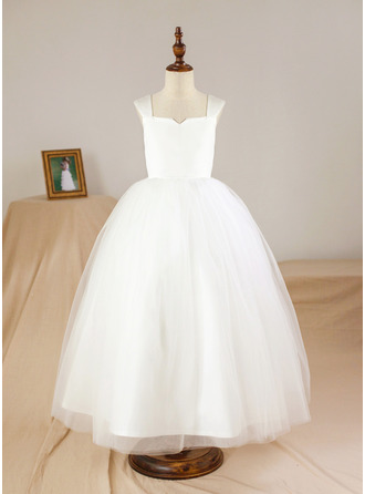 Ankle-length Flower Girl Dress - Satin Tulle Sleeveless Square Neckline