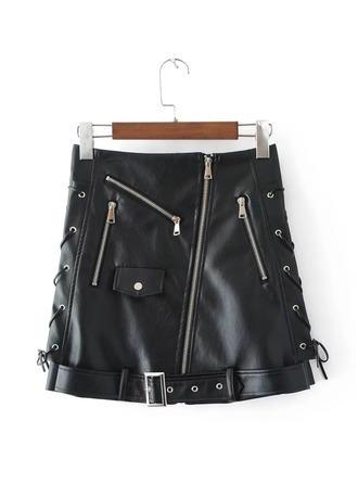 Sexy Skirts Mini Plain Leather/PU Etekler