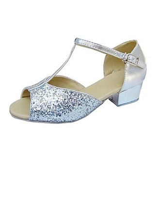Kids' Leatherette Sparkling Glitter Heels Sandals Latin With T-Strap Dance Shoes