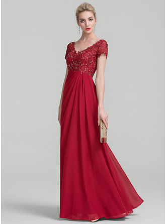 V-neck Floor-Length Chiffon Lace Mother of the Bride Dress With Ruffle Beading