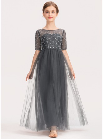 Scoop Neck Ankle-Length Tulle Lace Junior Bridesmaid Dress With Beading