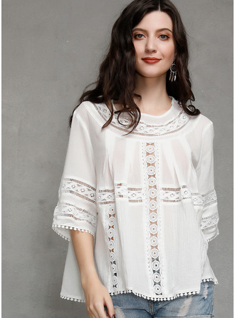 1/2 Sleeves Cotton Round Neck Bluzlar