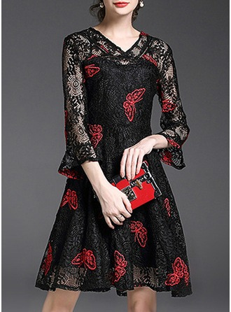 With Lace/Stitching/Embroidery Above Knee Dress