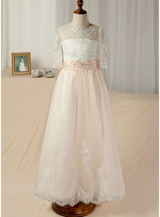 A-Line/Princess Floor-length Pageant Dresses - Satin/Tulle/Lace 3/4 Sleeves Scoop Neck With Sash/Appliques