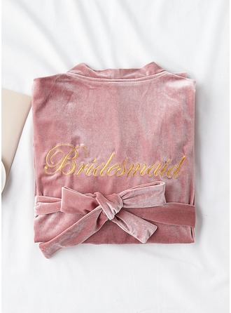 Non-personalized Polyester Bridesmaid Embroidered Robes