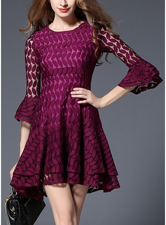 Lace With Lace/Embroidery/Hollow/Crumple/Ruffles Above Knee Dress
