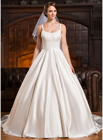 Ball-Gown Scoop Neck Cathedral Train Satin Wedding Dress With Ruffle