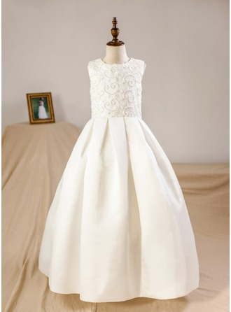 Floor-length Flower Girl Dress - Satin Sleeveless Scoop Neck (Petticoat NOT included)