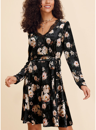 Polyester With Lace/Print Knee Length Dress
