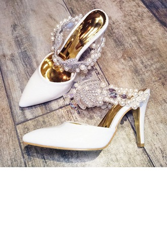 Femmes Similicuir Talon stiletto À bout ouvert Sandales Beach Wedding Shoes avec Perle d'imitation Strass