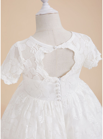 Knee-length Flower Girl Dress - Lace Short Sleeves Scoop Neck With Back Hole