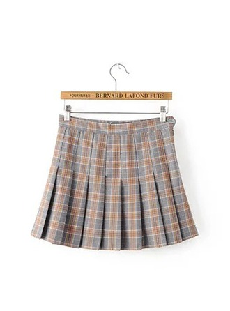 Pleated Skirts Mini Plaid Polyester Etekler