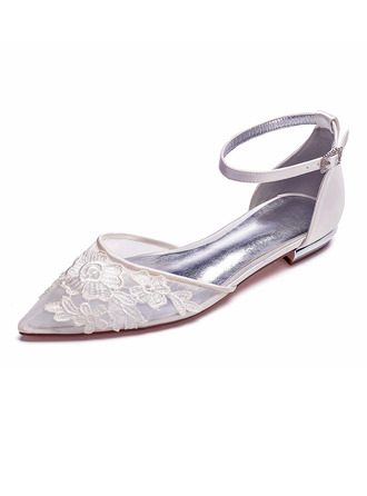 Women's Mesh Flat Heel Closed Toe Flats With Applique