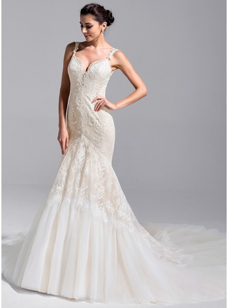 Trumpet/Mermaid Sweetheart Royal Train Tulle Lace Wedding Dress