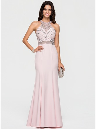 Trumpet/Mermaid Scoop Neck Sweep Train Stretch Crepe Prom Dresses
