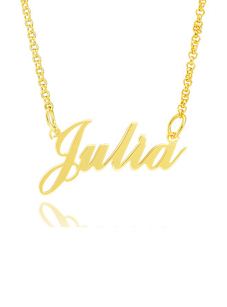 [Free Shipping]Custom 18k Gold Plated Silver Signature Name Necklace (288216873)-Christmas Gifts