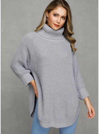 Waffle Knit Chunky knit Solid Polyester Turtleneck Pullovers Sweater Dresses Sweaters
