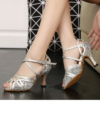 Women's Sparkling Glitter Heels Sandals Latin Ballroom With Ankle Strap Dance Shoes