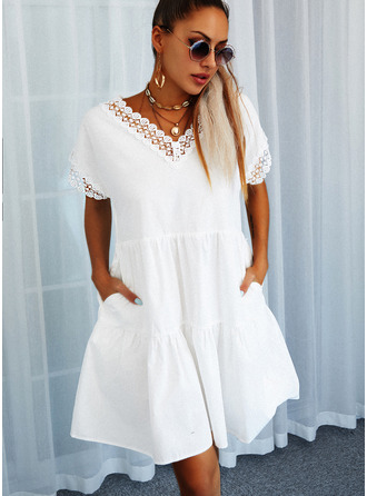 Lace Solid Shift V-Neck Short Sleeves Midi Casual Tunic Dresses