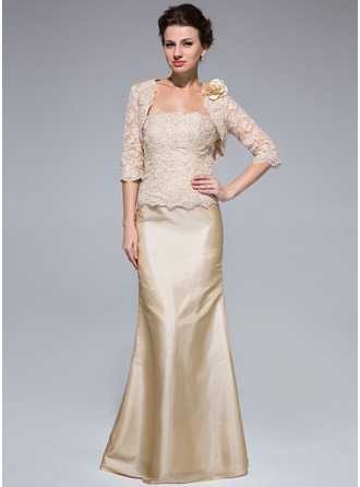 Trumpet/Mermaid Strapless Floor-Length Taffeta Lace Mother of the Bride Dress With Beading