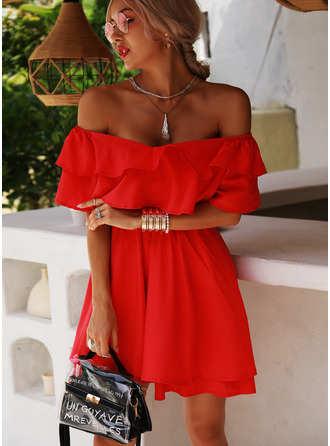 Solid A-line Off the Shoulder Short Sleeves Midi Party Skater Dresses