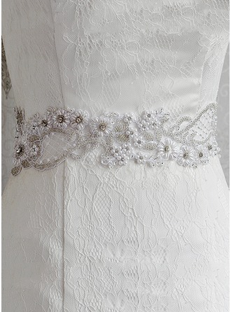 Elegant Satin Sash With Lace