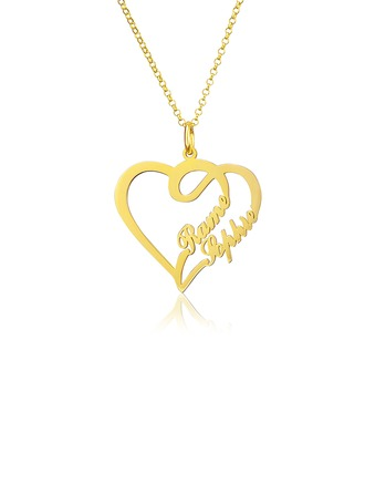 Custom 18k Gold Plated Heart Name Necklace