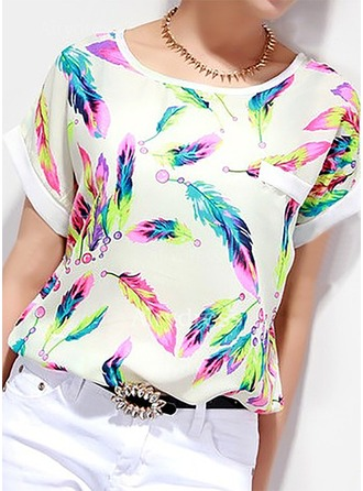 Floral Short Sleeves Chiffon Round Neck Casual Blouses ()