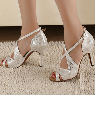 Women's Satin Heels Pumps Latin Jazz Practice Party Tango With Ankle Strap Dance Shoes