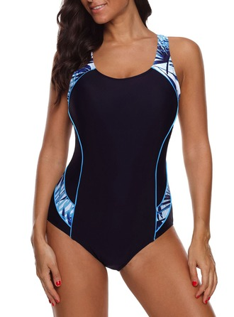 Elegant Print Nylon One-piece Swimsuit