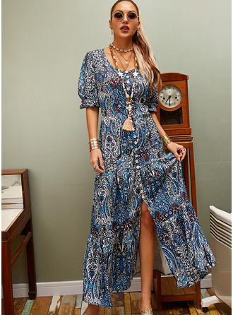 Floral Print Shift V-Neck 3/4 Sleeves Maxi Boho Casual Vacation Dresses