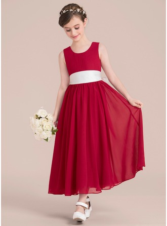 A-Line/Princess Scoop Neck Ankle-Length Chiffon Junior Bridesmaid Dress With Sash Bow(s)