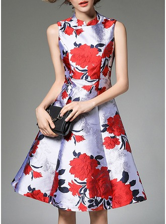 Polyester With Jacquard Knee Length Dress