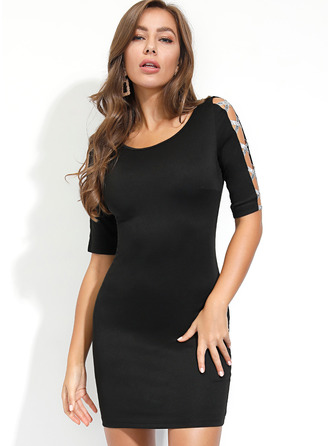 Polyester With Hollow/Solid Above Knee Dress