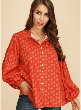 1/2 Sleeves Polyester V Neck Shirt Blouses Blouses