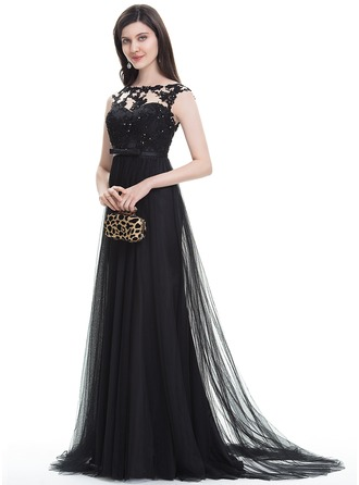 A-Line/Princess Scoop Neck Sweep Train Tulle Evening Dress With Beading Sequins Bow(s)