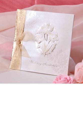 Floral Style Side Fold Invitation Cards With Ribbons