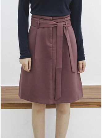 A-Line Skirts Knee Length Plain Cotton Blends Skirts