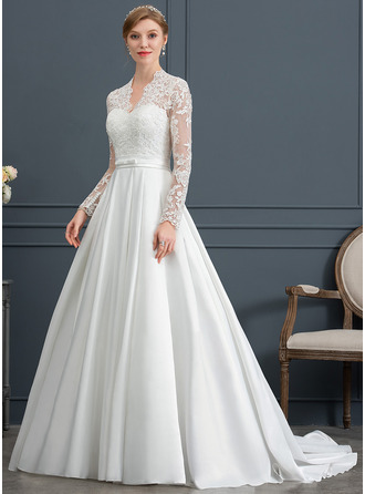 Ball-Gown/Princess V-neck Court Train Satin Wedding Dress With Bow(s)