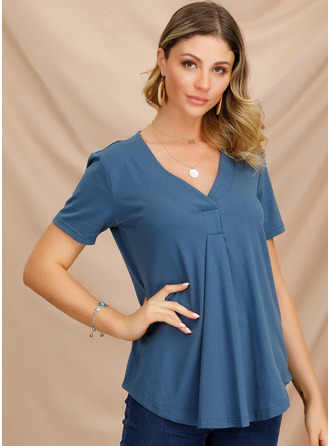 Short Sleeves Polyester V Neck Knit Blouses
