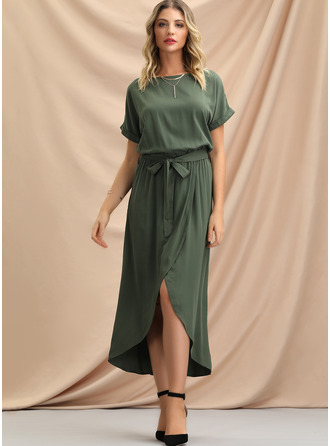 Polyester With Solid/Slit Asymmetrical Dress