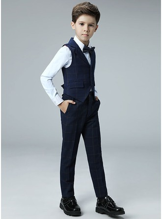 Boys 4 Pieces Plaid Ring Bearer Suits /Page Boy Suits With Shirt Vest Pants Bow Tie