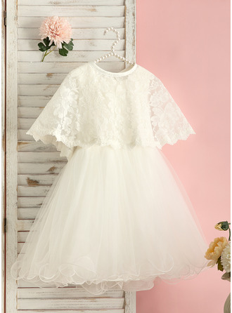 Po kolena Flower Girl Dress - Tyl Bez rukávů Scoop Neck S Zdobení korálky Luk