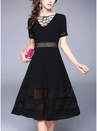Lace/Chiffon mit Stitching/Hollow Midi Kleid