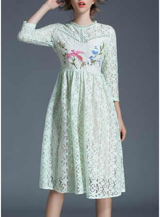 Lace With Embroidery Knee Length Dress