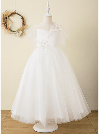 Ball-Gown/Princess Ankle-length Flower Girl Dress - Satin Tulle Lace Short Sleeves Scoop Neck With V Back