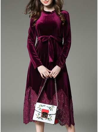Velvet With Lace/Stitching/Hollow/Crumple Midi Dress